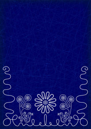 Dark blue background with white embroidery elements of flowers and birds