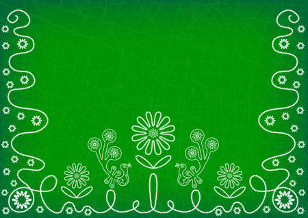 Dark green background with white embroidery elements of flowers and birds Illustration