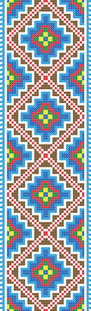 embroidered: Seamless stripe of the vector pattern of Traditional Folk Cross Stitch