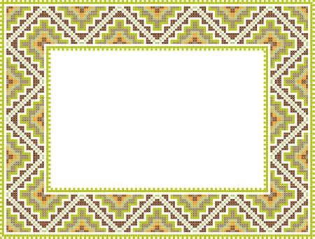 vector folk Rectangular Frame Cross-stitch in green and brown