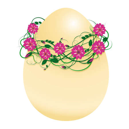 vector illustration of an egg in a wreath of beautiful flowers