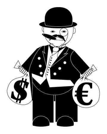 vector illustratie cartoon bankier met zakken geld op wit wordt geïsoleerd Vector Illustratie