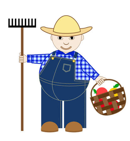 vector illustration of a cute cartoon gardener  in a comfortable working denim overalls with a garden rake and harvest in the basket