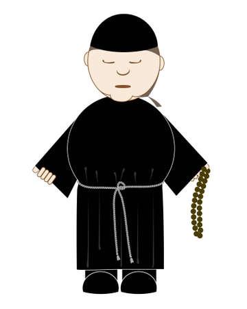 sotana: monje reza con un Rosario en la mano, aislado en blanco Vectores
