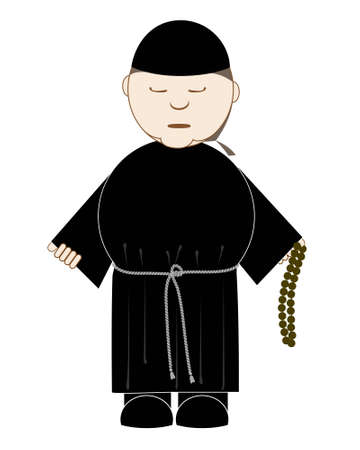 cowl: monk prays with a rosary in his hand, isolated on white Illustration