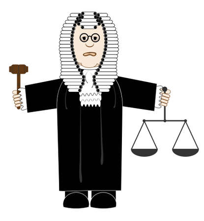 justness: vector illustration cartoon judge in robes and a wig with a judges gavel and scales of justice in the hands Illustration