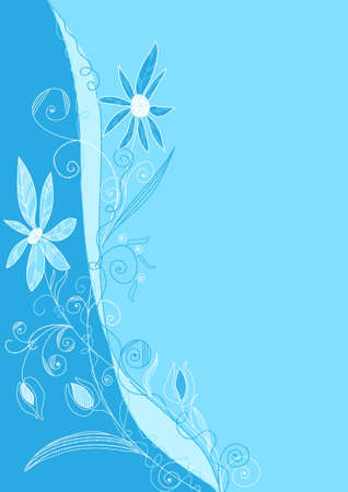 handmade background with a flower arrangement in a blue Illustration