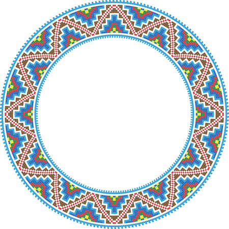 embroidered: vector folk round Frame Cross-stitch traditional Illustration