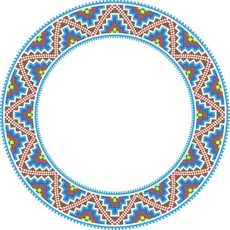 gestickt: Vektor-Folk Runde Frame Kreuzheftung traditionellen Illustration