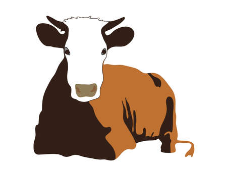 lying quietly beautiful red cow with horns Illustration
