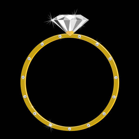 expensive gold ring with one large diamondand  many small Stock Vector - 9933501