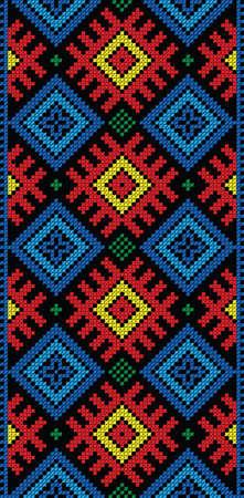 Seamless stripe  pattern of Traditional Folk Cross Stitch on black