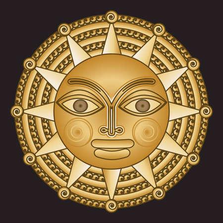 round an ancient gold medallion solar Illustration