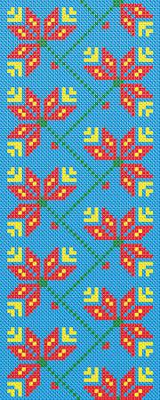 seamless pattern of Ukrainian folk embroidery cross flowers on a blue  Illustration