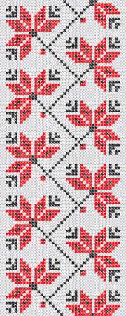 seamless pattern of Ukrainian folk embroidery cross flowers red and black