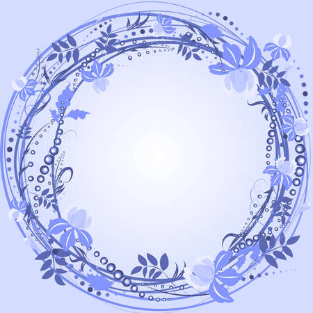 purple wreath frame with flowers and berries, leaves