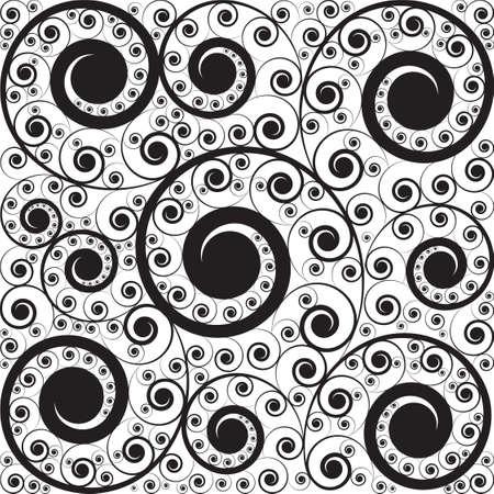 square detail: Negro con estilo en el patr�n blanco de rizos