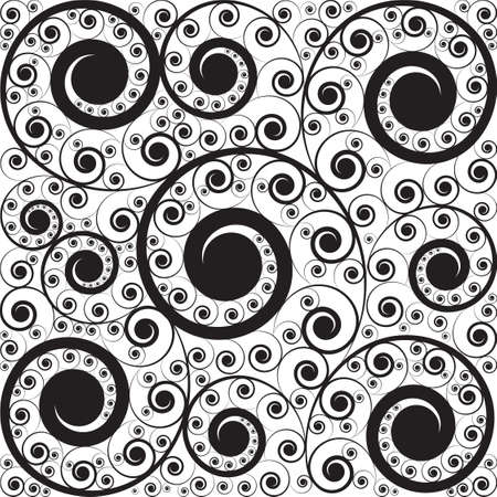 padding: Stylish black on white pattern of curls Illustration