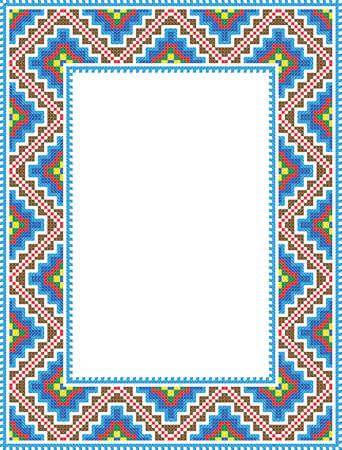 vector folk Rectangular Frame vertical format Cross-stitch blue  Illustration