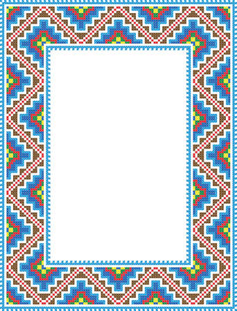 vector folk Rectangular Frame vertical format Cross-stitch blue  Vector