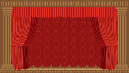theater scene with columns and a red curtain