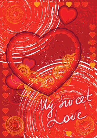 Valentines Day card with hearts and spirals Illustration