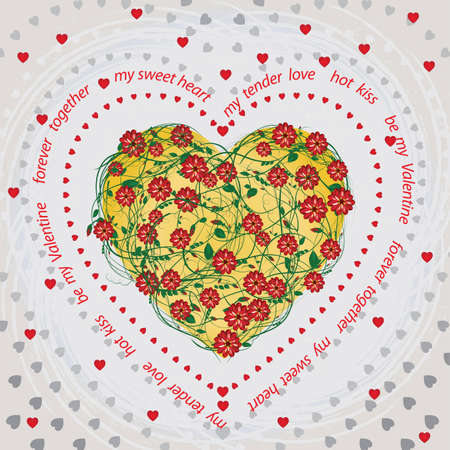 Valentines Day card with a floral heart