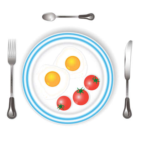 scrambled eggs with tomatoes in a bowl with a fork, knife and teaspoon