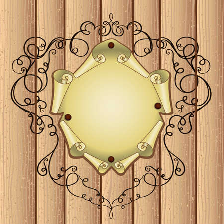 patterned frame with parchment on wooden background Illustration