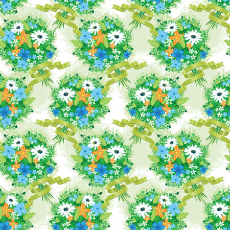 Seamless texture with delicate bouquet of wild flowers with ribbons Illustration