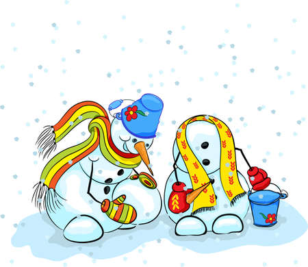 Snowman in a bright scarf and mittens with a bucket on his head sculpts snowman on snowing Stock Vector - 16394651