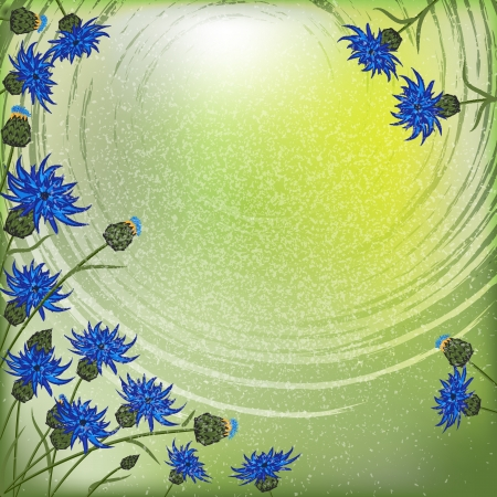 background frame with cornflowers in the sky