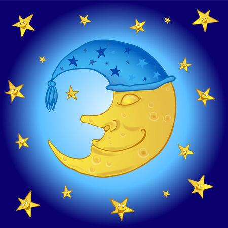 cartoon sleeping moon in the starry sky