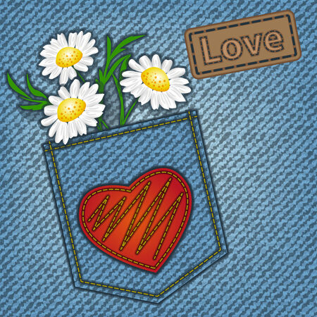 Jeans valentine card with heart and flowers Illustration
