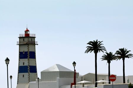 The lighthouse on seaside in Cascais, Portugal. Stock Photo