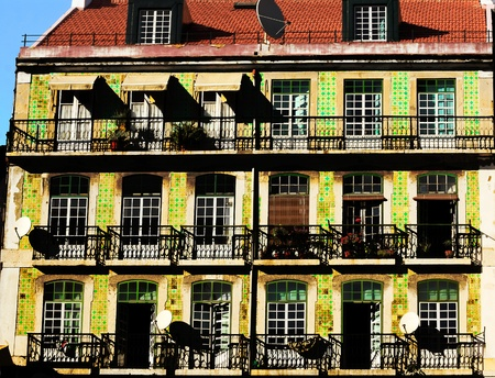 Old,colourful, typical, building in Lisbon. Stock Photo