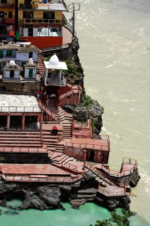 Devprayag is the last prayag of Alaknanda River and from this point the confluence of Alaknanda and Bhagirathi River is known as Ganga. The town of Devprayag holds great religious importance amongst Hindus as the divine Ganga River takes its real form her Stock Photo
