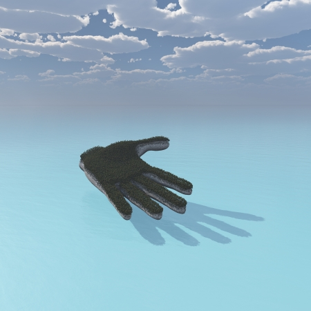 Hand across the ocean  3d illustration Stock Illustration - 17401172