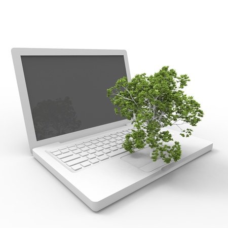 Laptree  3d illustration of a tree growing on a laptop Stock Illustration - 17401165