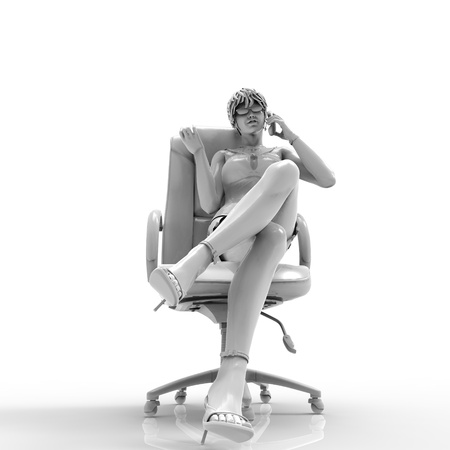 Talking girl 3d illustration of a girl who have a phone conversation Stock Illustration - 17401126