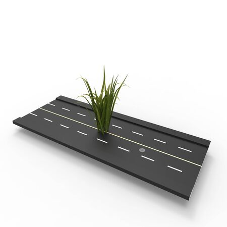This is a 3d illustration of a grass growing on road   This is about nature  Stock Photo