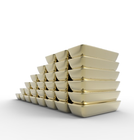 This is a 3d illustration of gold bars  Stock Photo