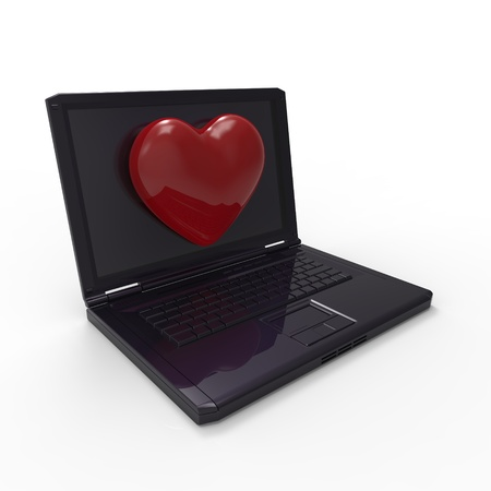 This is a 3d illustration of love and computer Stock Photo