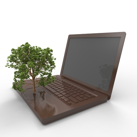 nbsp:  3d illustration of a tree growing on a laptop