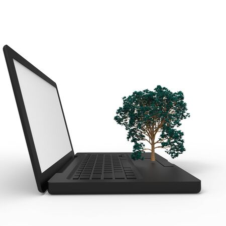 3d illustration of a tree growing on a laptop Stock Illustration - 17536305