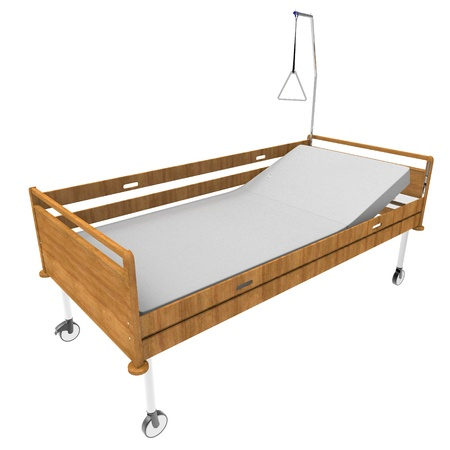 medical Bed on a white background Stock Photo