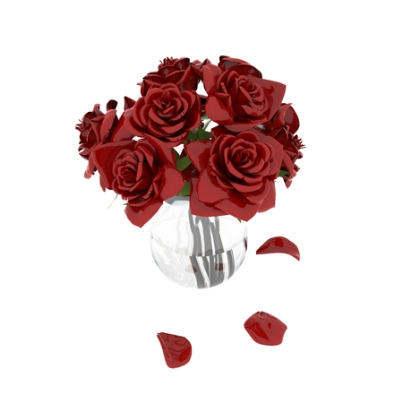 Beautiful red rose isolated on white Stock Photo