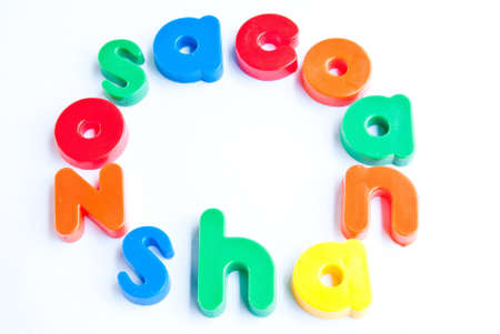 consonant: Plastic letters on white background