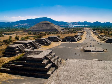 The Teotihuacan Pyramids near Mexico City. This image shot from the Pyramid of the Moon towards the Pyramid of the Sun. Stock Photo