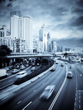 A busy highway through Causeway Bay, Hong Kong. photo